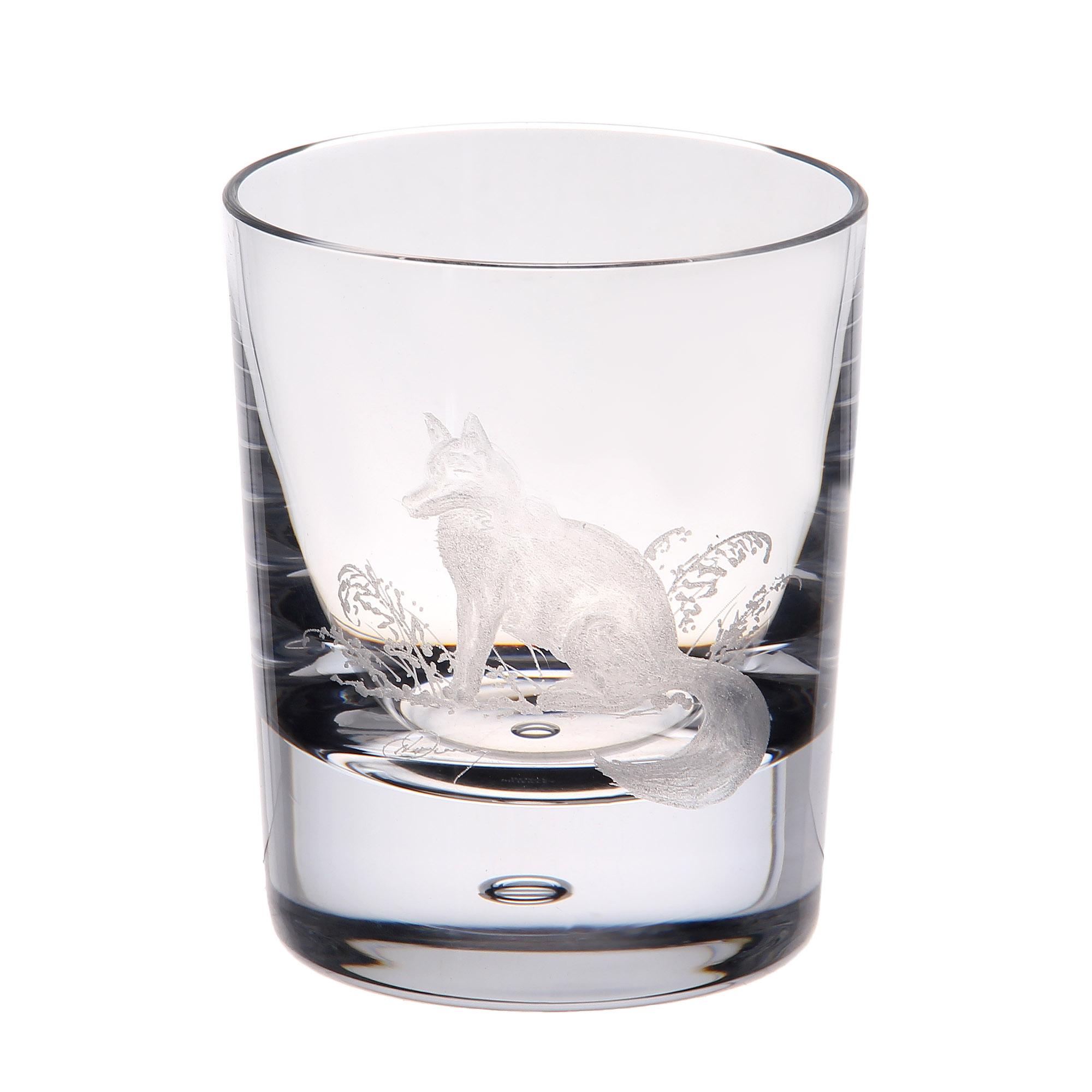 Купить Стакан для виски Dartington crystal engraved лиса 300мл, Великобритания, хрусталь ручной работы (24% свинца)