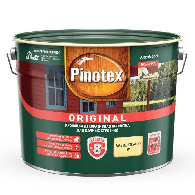 Пропитка декоративная для защиты древесины Pinotex Original база BW 9 л.