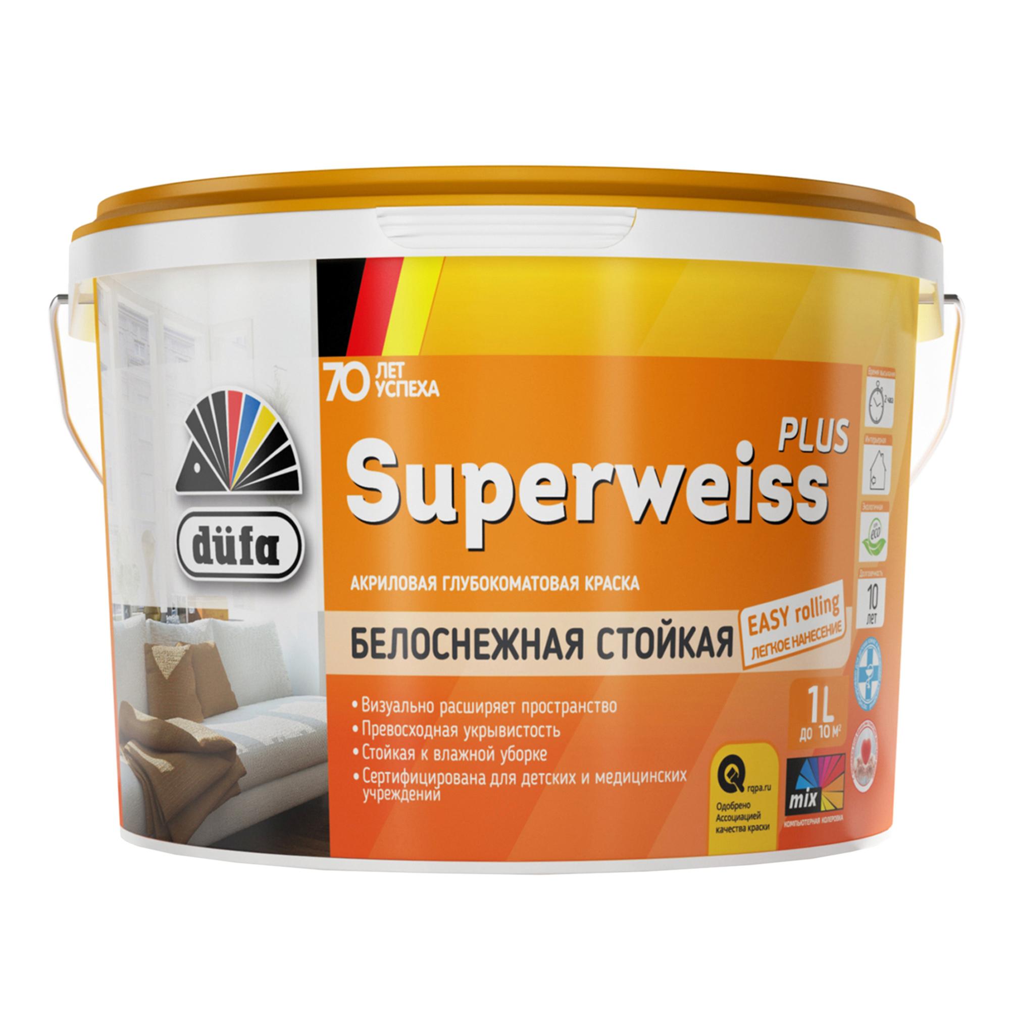 Краска Dufa Retail Superweiss Plus глубокоматовая 1 л.