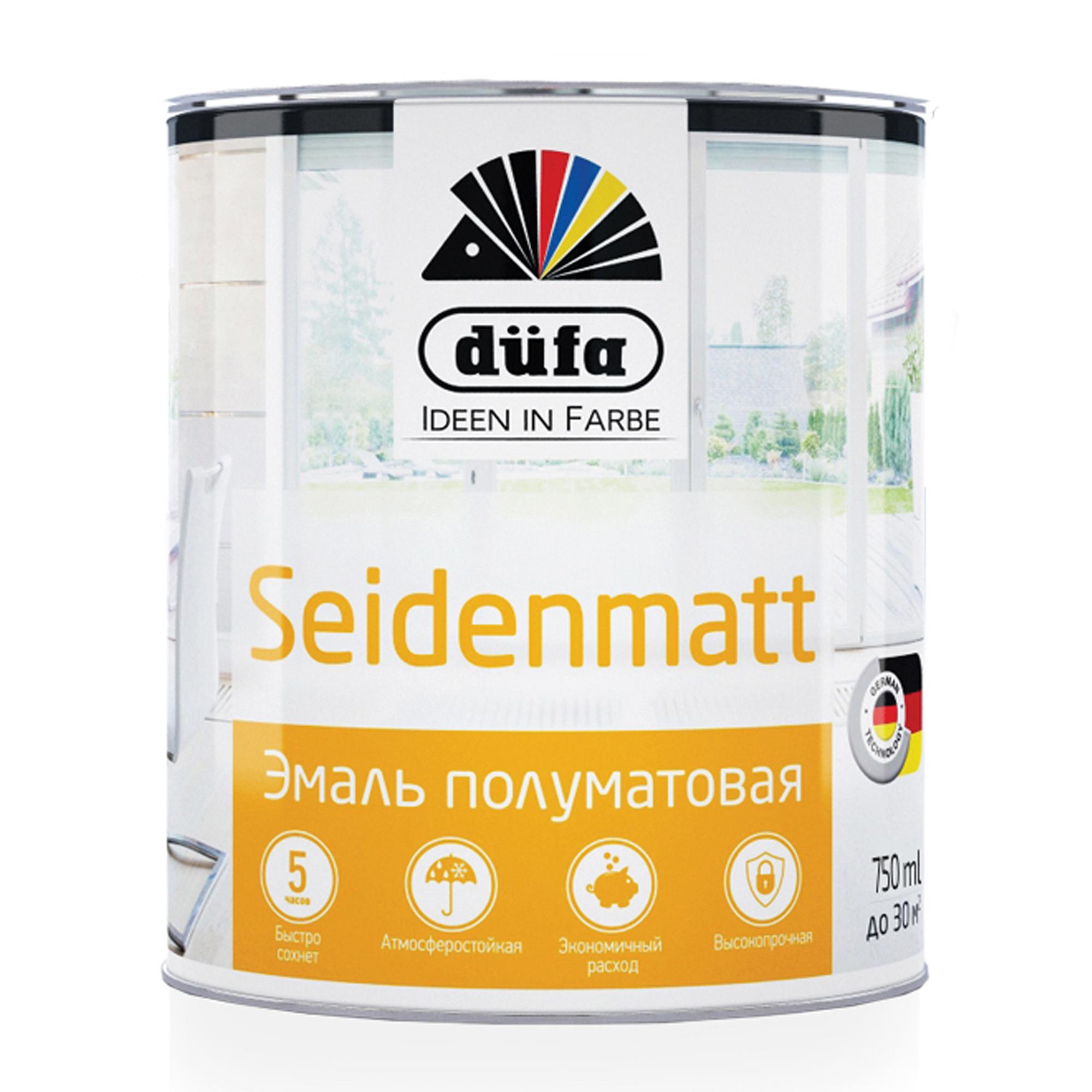 Эмаль универсальная Dufa Retail Seidenmatt полуматовая белая 750 мл