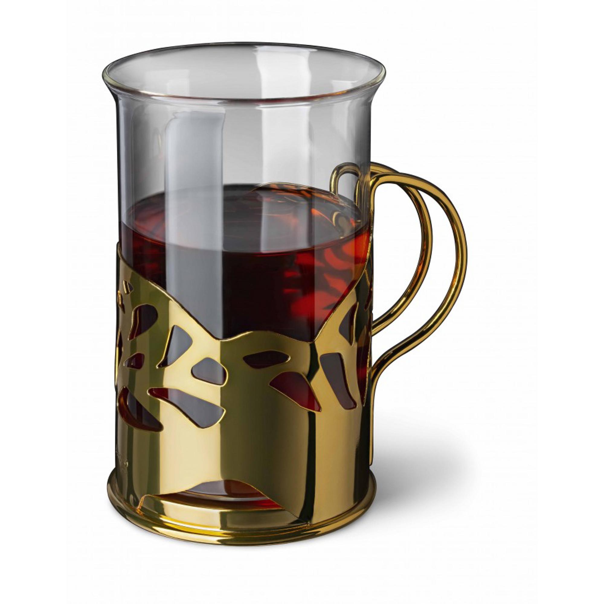 Набор стаканов в подстаканнике APOLLO genio Cite Gold 250 мл 2 шт, сахарница apollo genio cite black onyx 300мл с ложкой нерж сталь стекло