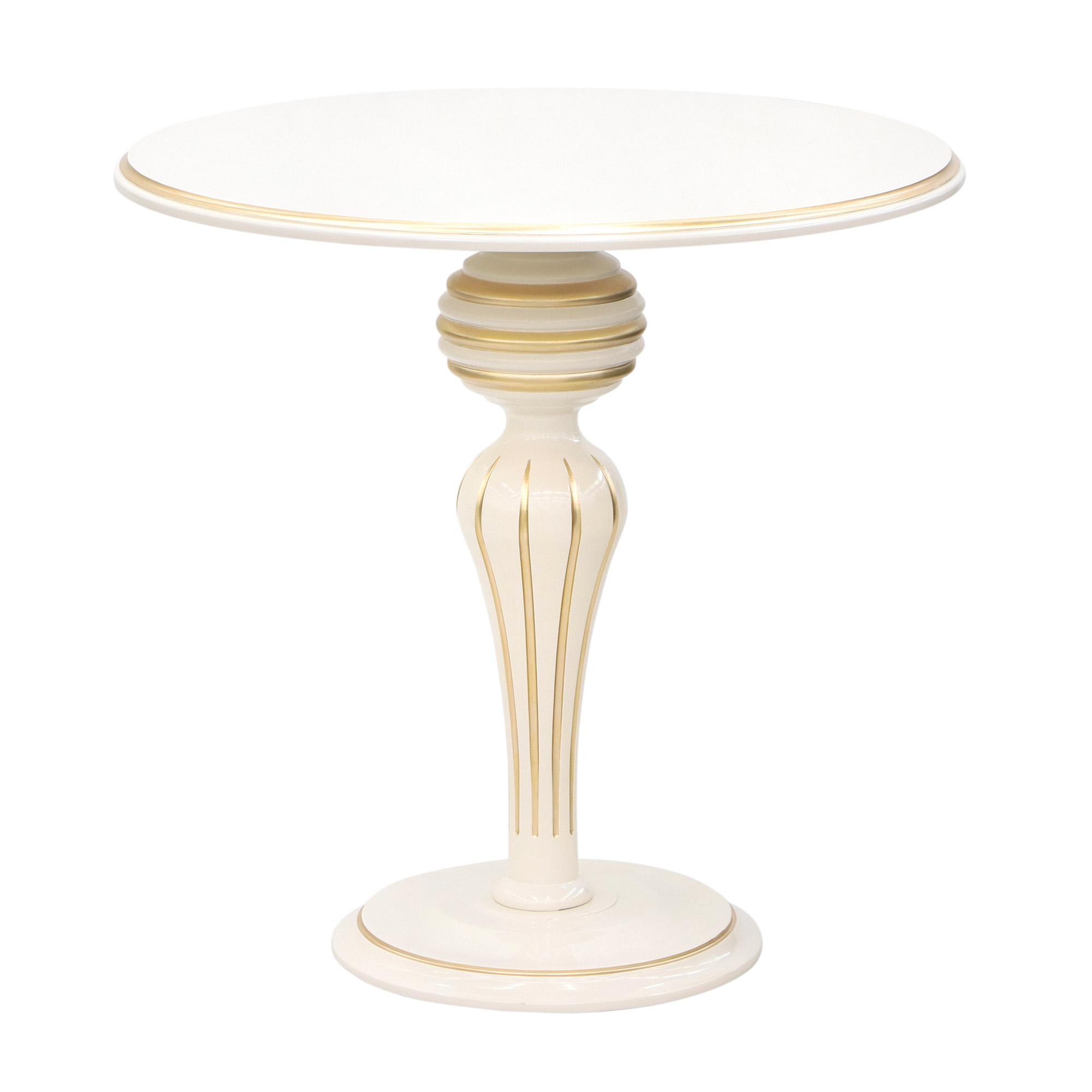 Стол кофейный Glasar слоновая кость с золотом фото