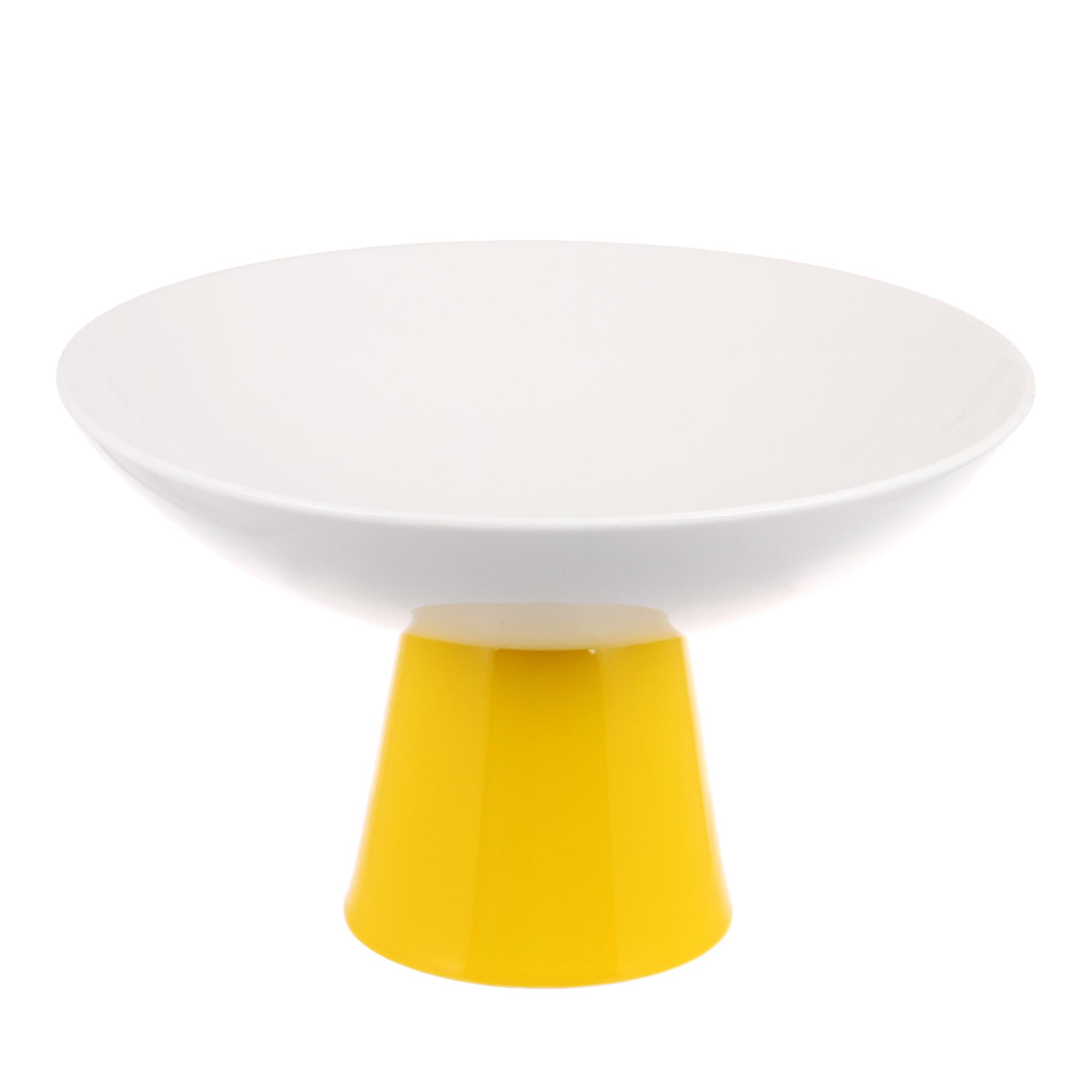 Блюдо на ножке 24см высокое основание желтое Deagourmet