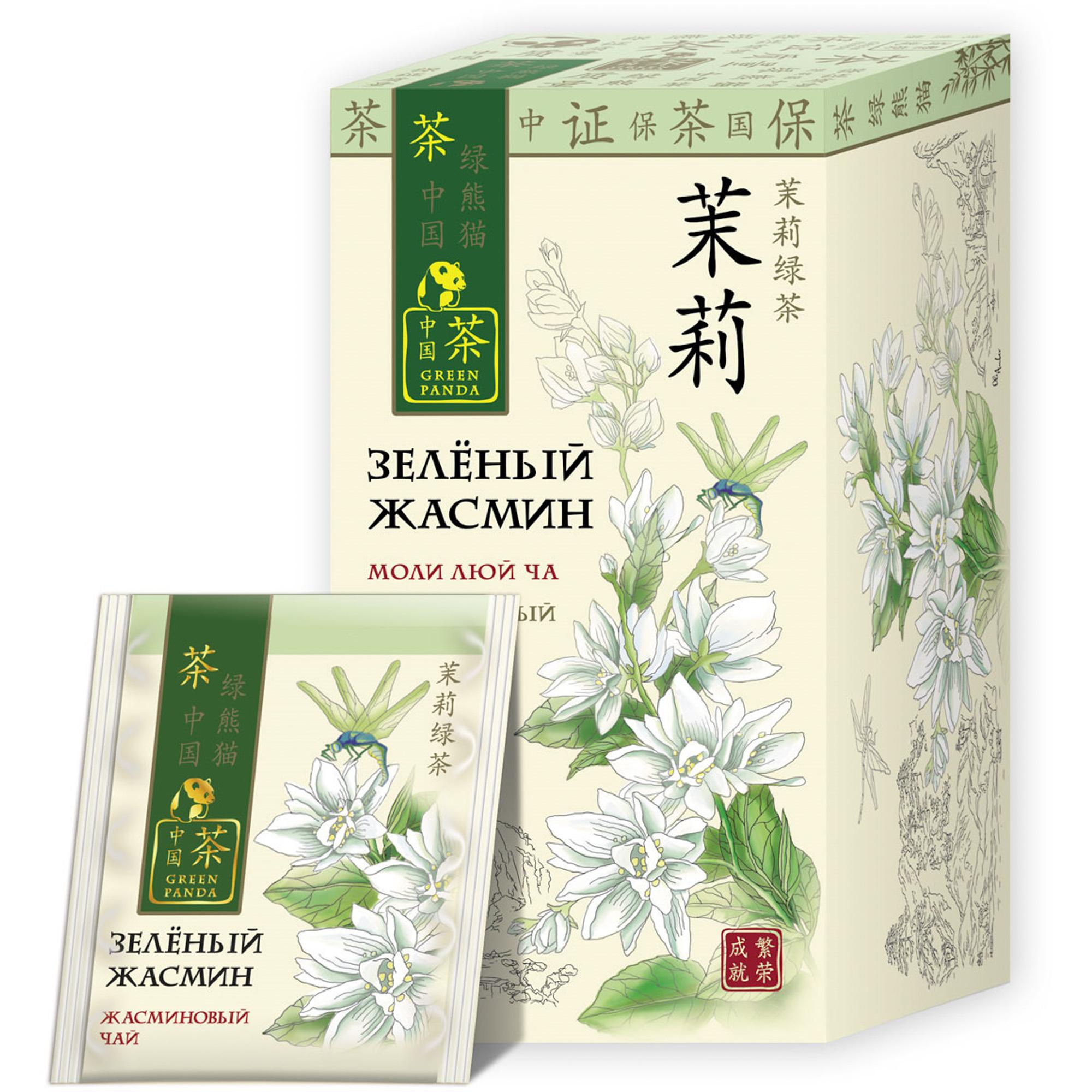 Чай зеленый Зеленая Панда Зеленый жасмин 25 пакетиков недорого