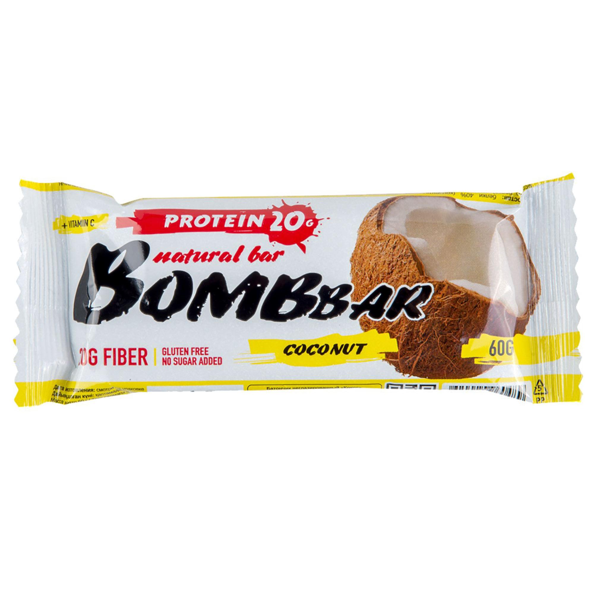Батончик протеиновый Bombbar Кокос 60 г батончик протеиновый bombbar датский бисквит 60 г