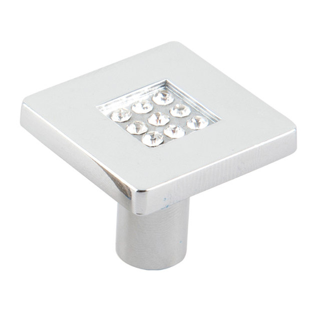 Ручка-кнопка с кристаллами Феникс-строй 2,8х2,8х2,4 см хром