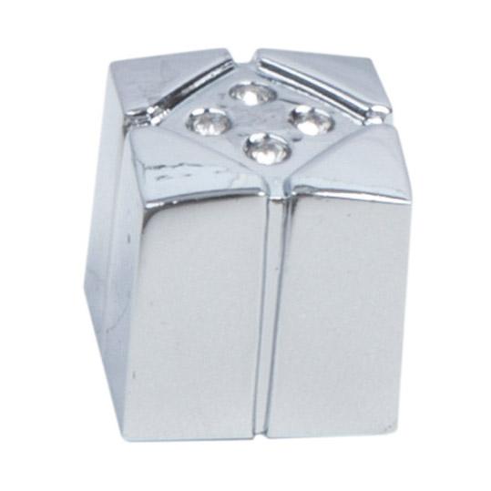 Ручка-кнопка с кристаллами Феникс-строй 2х2х2 см хром