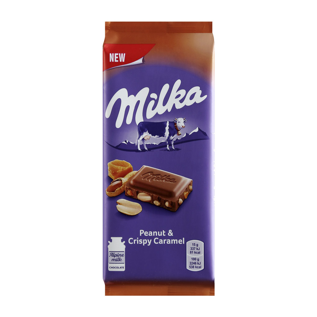 шоколад milka молочный 90 г Шоколад Milka молочный с арахисом, кусочками хрустящей карамели, рисовыми шариками и кукурузными хлопьями 90 г