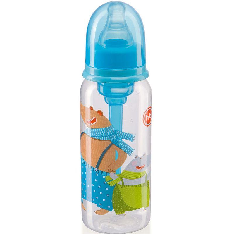 Купить Бутылочка Happy Baby Sky с силиконовой соской 0, 25 л, Китай, голубой, Детская посуда и аксессуары