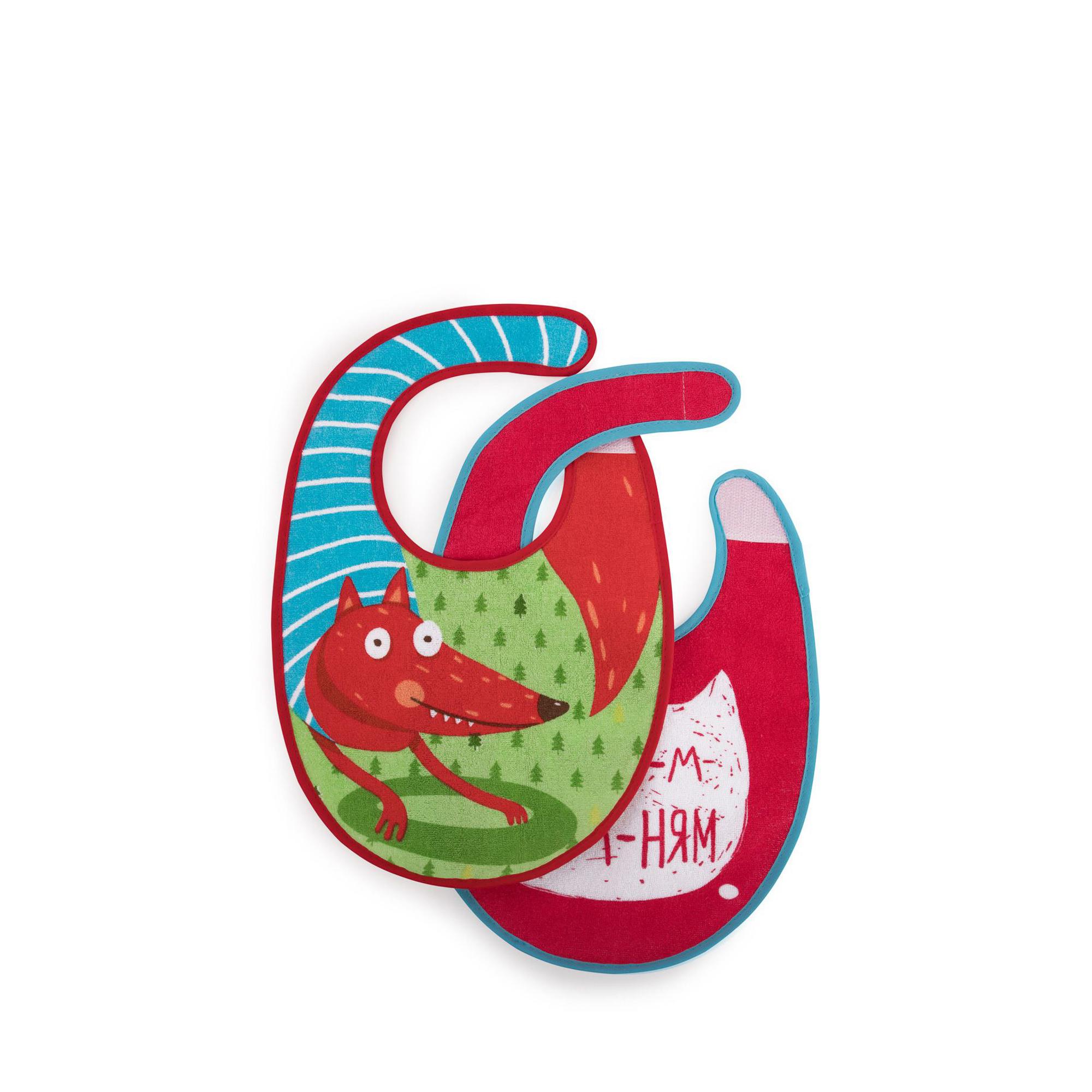 Купить Набор нагрудных фартуков Happy Baby Fox от 3 мес, Китай, зеленый, розовый, хлопок, этилвинилацетат, полиэстер, Детская посуда и аксессуары