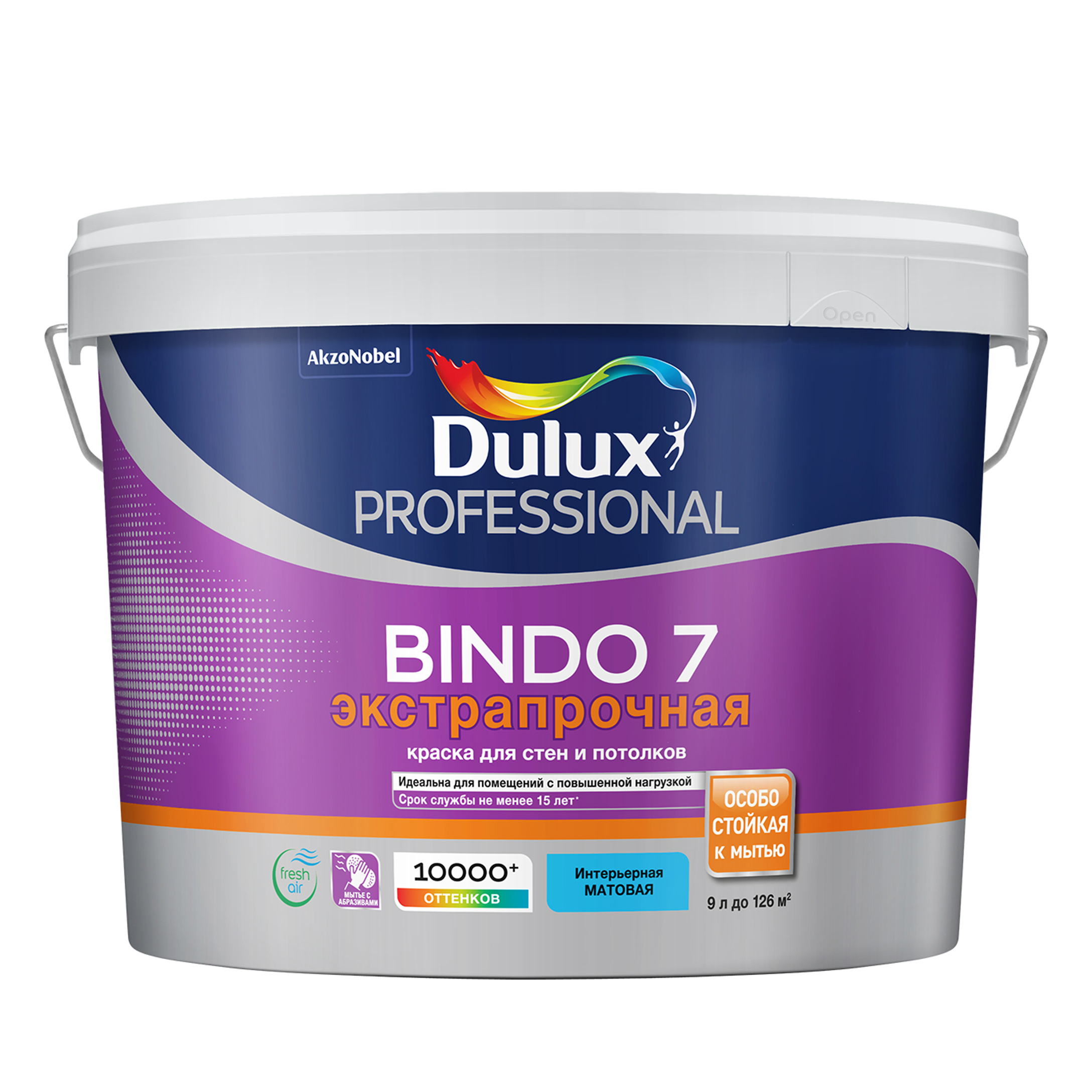 Фото - Краска для стен и потолков латексная экстрапрочная Dulux Professional Bindo 7 матовая база BC 9 л. краска водно дисперсионная dulux bindo 7 экстрапрочная моющаяся основа вс 1 л