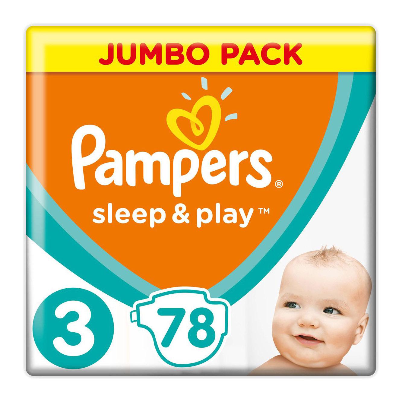 Купить Подгузники Pampers Sleep&Play midi 6-10 кг 78 шт, 3, Для детей,