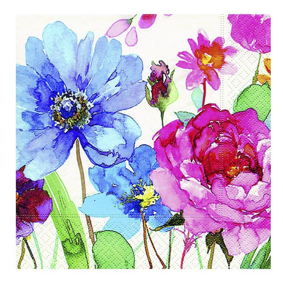 Бумажные салфетки Paper+Design Красочные цветы трехслойные 25x25 см 20 шт