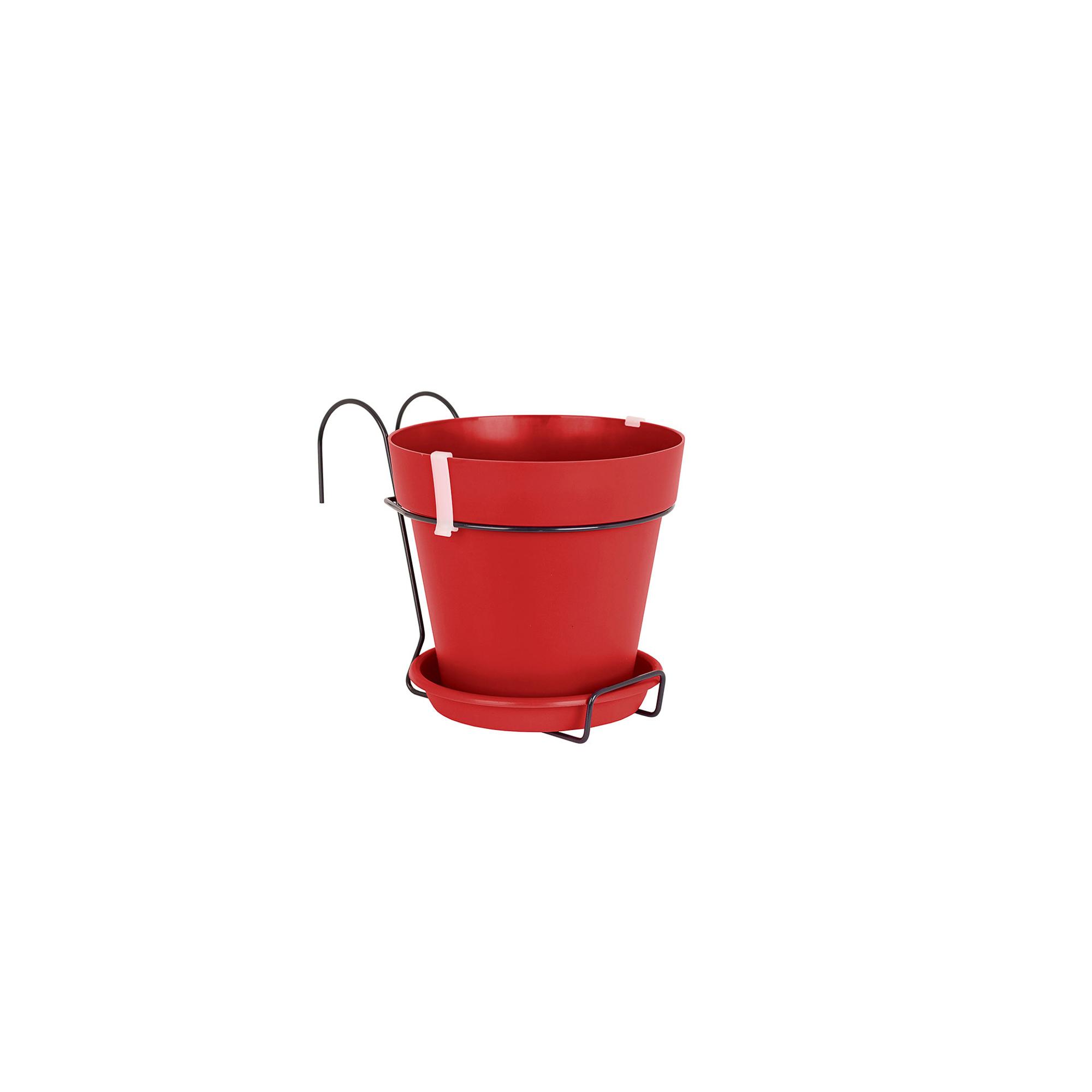 Горшок для цветочного балкона Artevasi Capri 20см красное с кронштейном