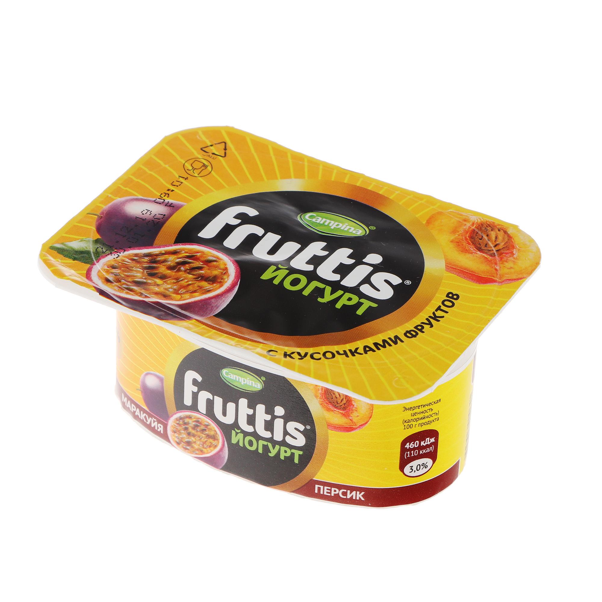 Фото - Йогурт Campina Fruttis Абрикос, манго, персик, маракуйя 3% 110 г йогурт campina fruttis легкий клубника 0 1% 110 г