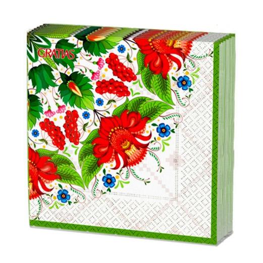 Салфетки бумажные Gratias Летняя сказка трехслойные 33x33 см 20 шт