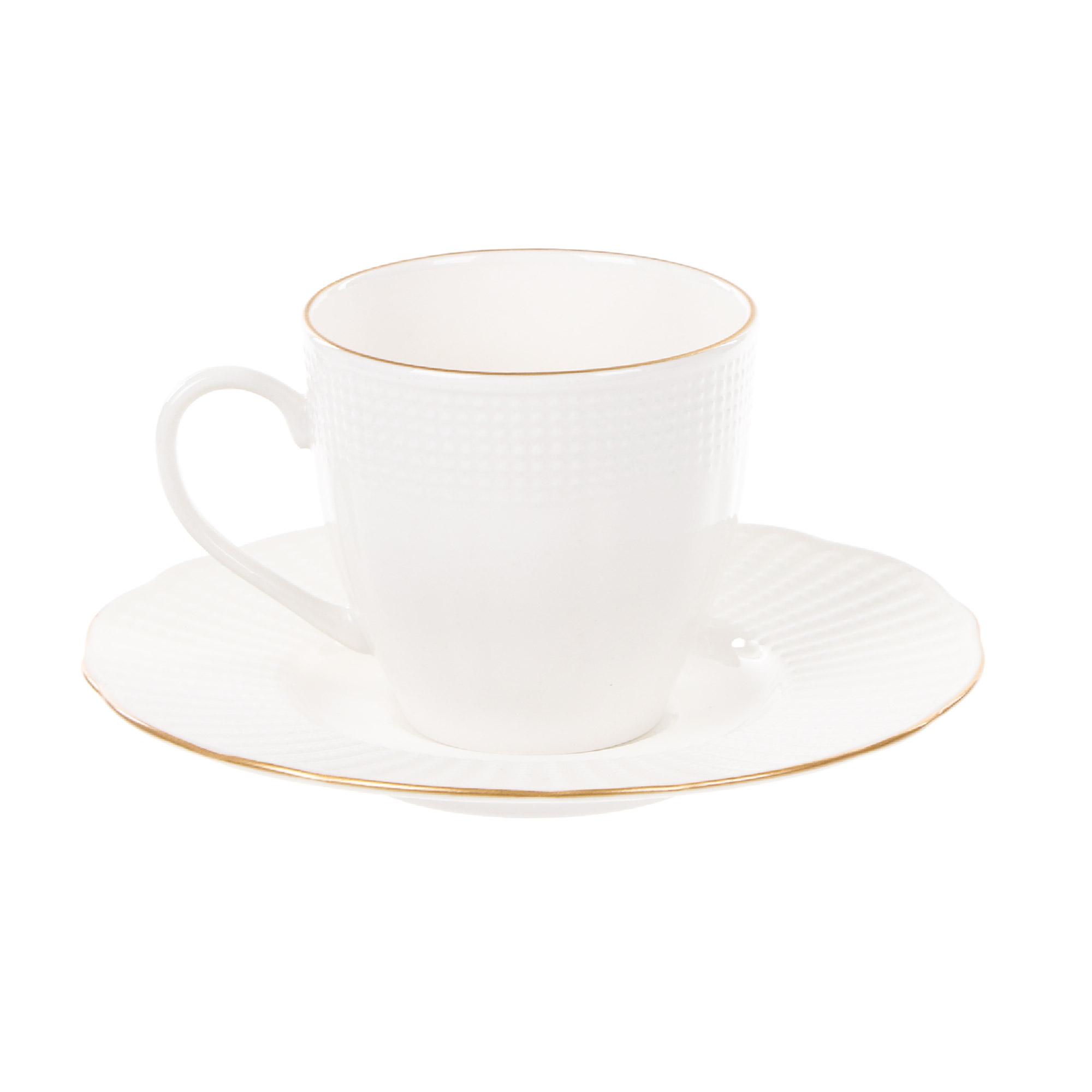 Чашка с блюдцем кофейная 100 мл, Kutahya Porselen ilay отводка золото