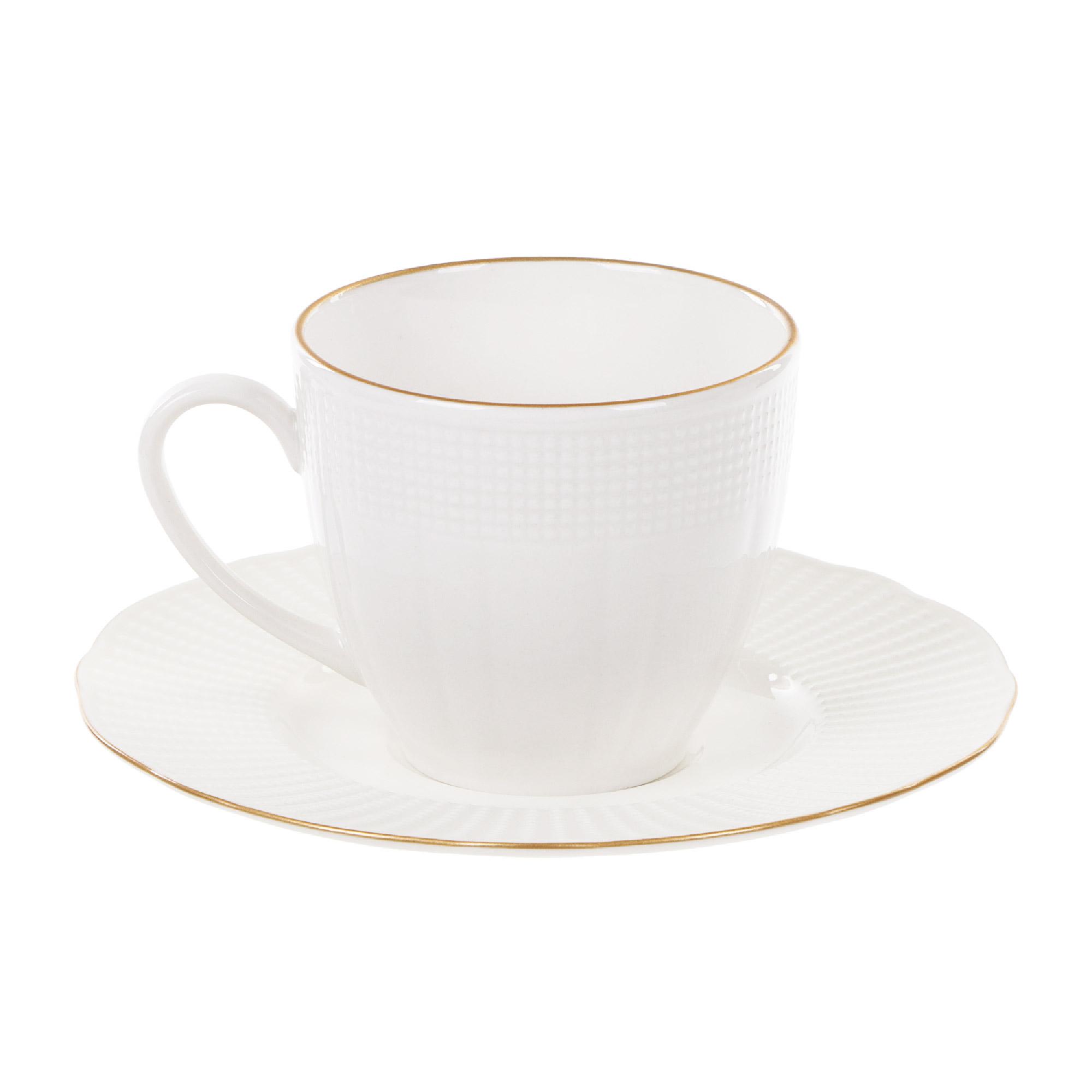 Чашка с блюдцем чайная 120 мл, Kutahya Porselen ilay отводка золото