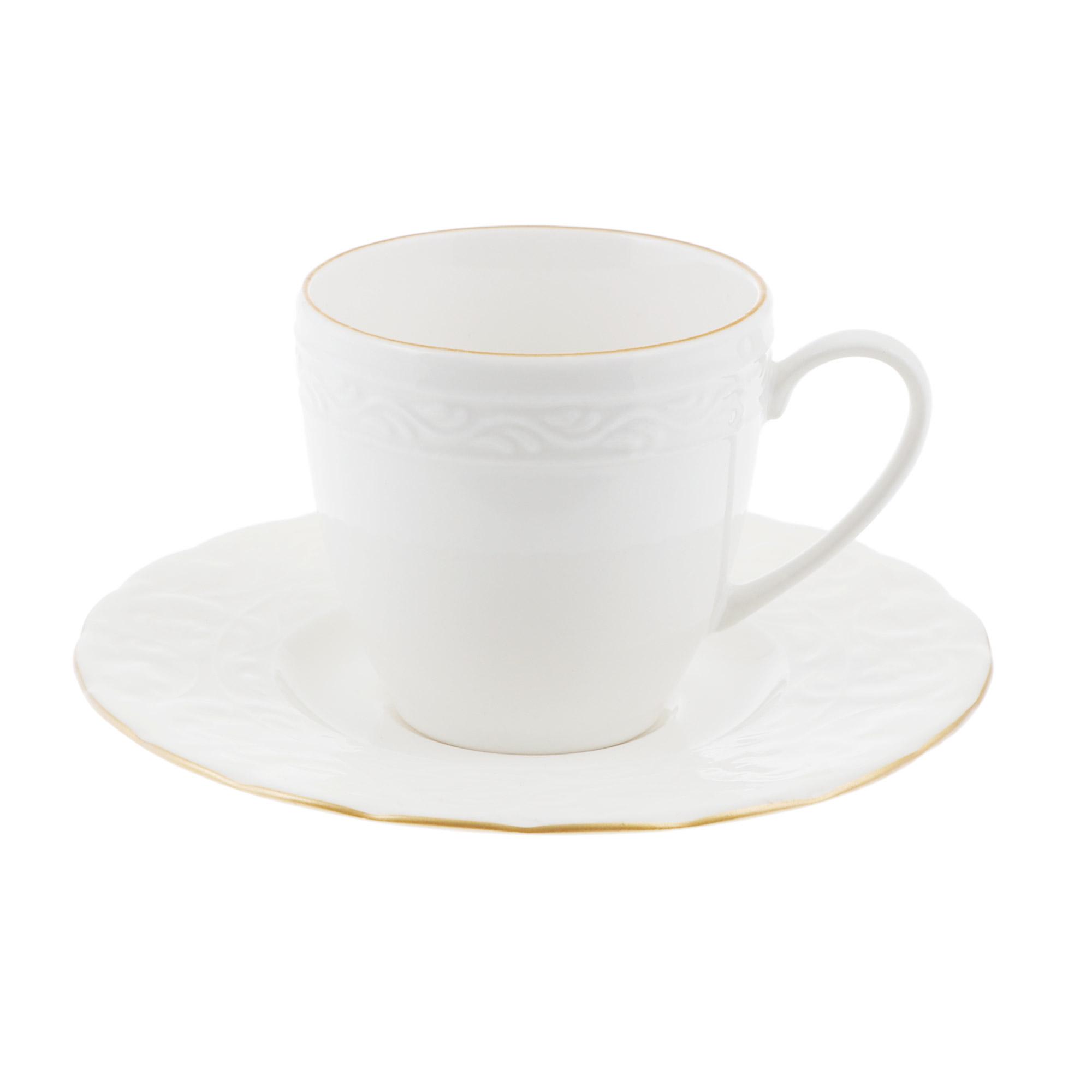 Чашка с блюдцем кофейная 100 мл Kutahya porselen Basak отводка золото