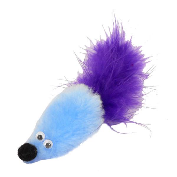 Игрушка для кошек GoSi Дразнилка Мышь с мятой голубая