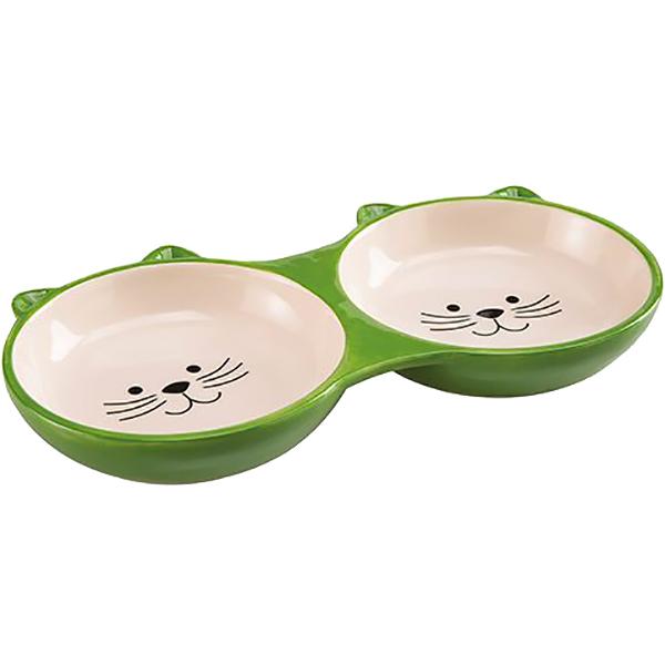 Миска для животных Foxie Kitty двойная зеленая 190 мл.