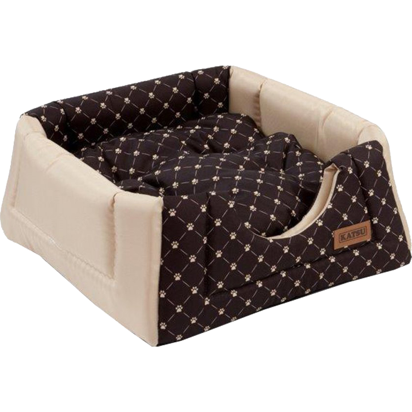 Купить Домик-трансформер для кошек Katsu Hopi Cat Paw коричнево-бежевый 40x40x35 см, Катсу, домик, бежевый, коричневый, полиэстер