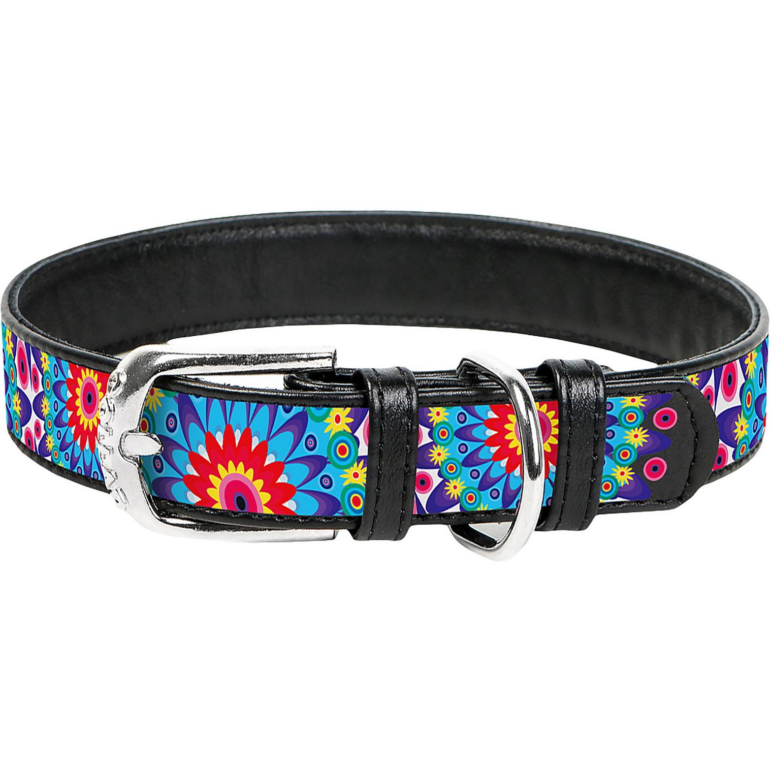 Фото - Ошейник для собак COLLAR Waudog с рисунком Цветы 12 мм 19-25 см Черный ошейник для собак collar waudog с рисунком цветы 15 мм 27 36 см черный