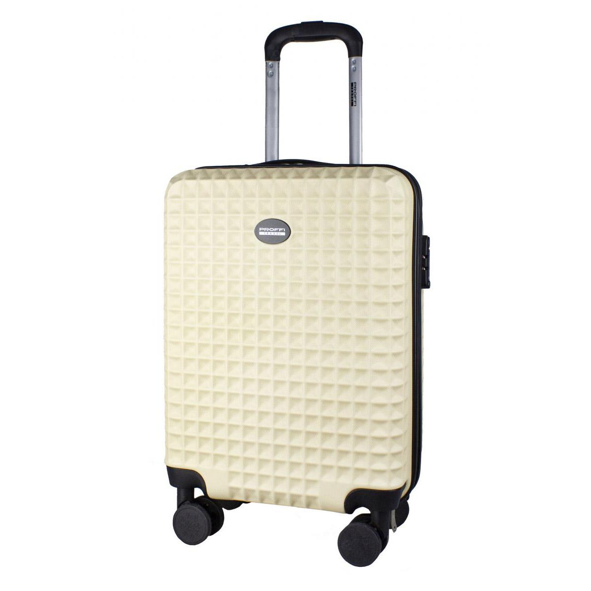 Фото - Чемодан Proffi Travel tour quattro smart 20 малый 56х36х21 бежевый c весами+usb в ручке чемодан proffi kingsize xl 110 л черный