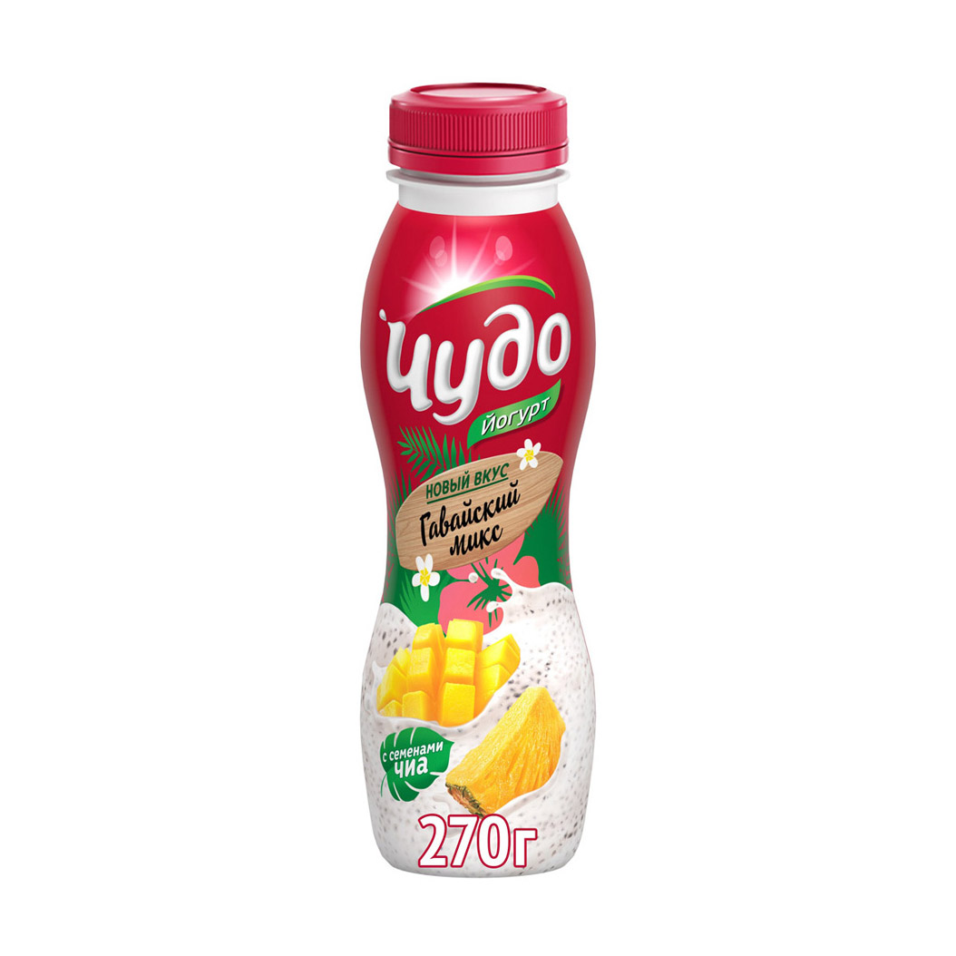 Фото - Йогурт питьевой Чудо Гавайский микс Манго, ананас, чиа 2,4% 270 г йогурт питьевой активиа вишня семена чиа 2 1% 260 г