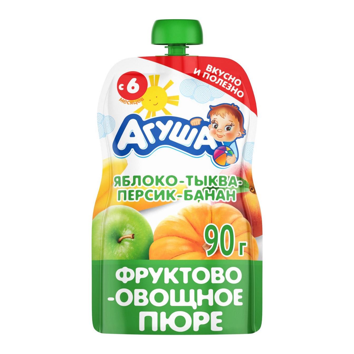 Пюре фруктово-овощное Агуша Яблоко-Тыква-Персик-Банан 90 г