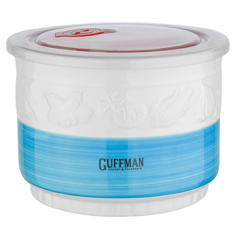 Купить Контейнер пищевой Guffman Ceramics 1, 5 л, Китай, белый, голубой, высококачественная керамика