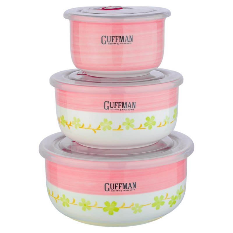 Набор контейнеров Guffman Ceramics 3 шт, Китай, белый, желтый, розовый, высококачественная керамика  - купить со скидкой
