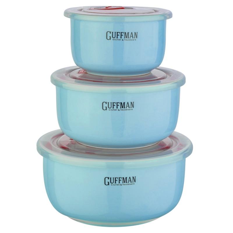 Купить Набор контейнеров Guffman Ceramics 3 шт, Китай, голубой, высококачественная керамика