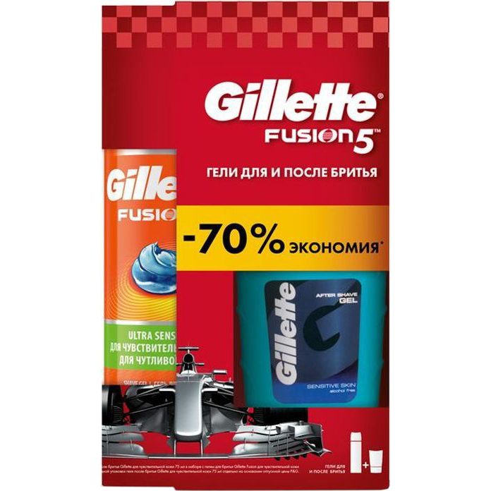 Набор Gillette Гель для бритья Fusion5 Для чувствительной кожи 200 мл + гель после бритья Sensitive Skin 75 мл гель для бритья dockland aqua 200 мл