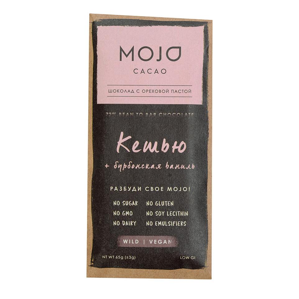 Шоколад горький веганский Mojo cacao 72% с ореховой пастой Кешью-Бурбонская ваниль 65 г
