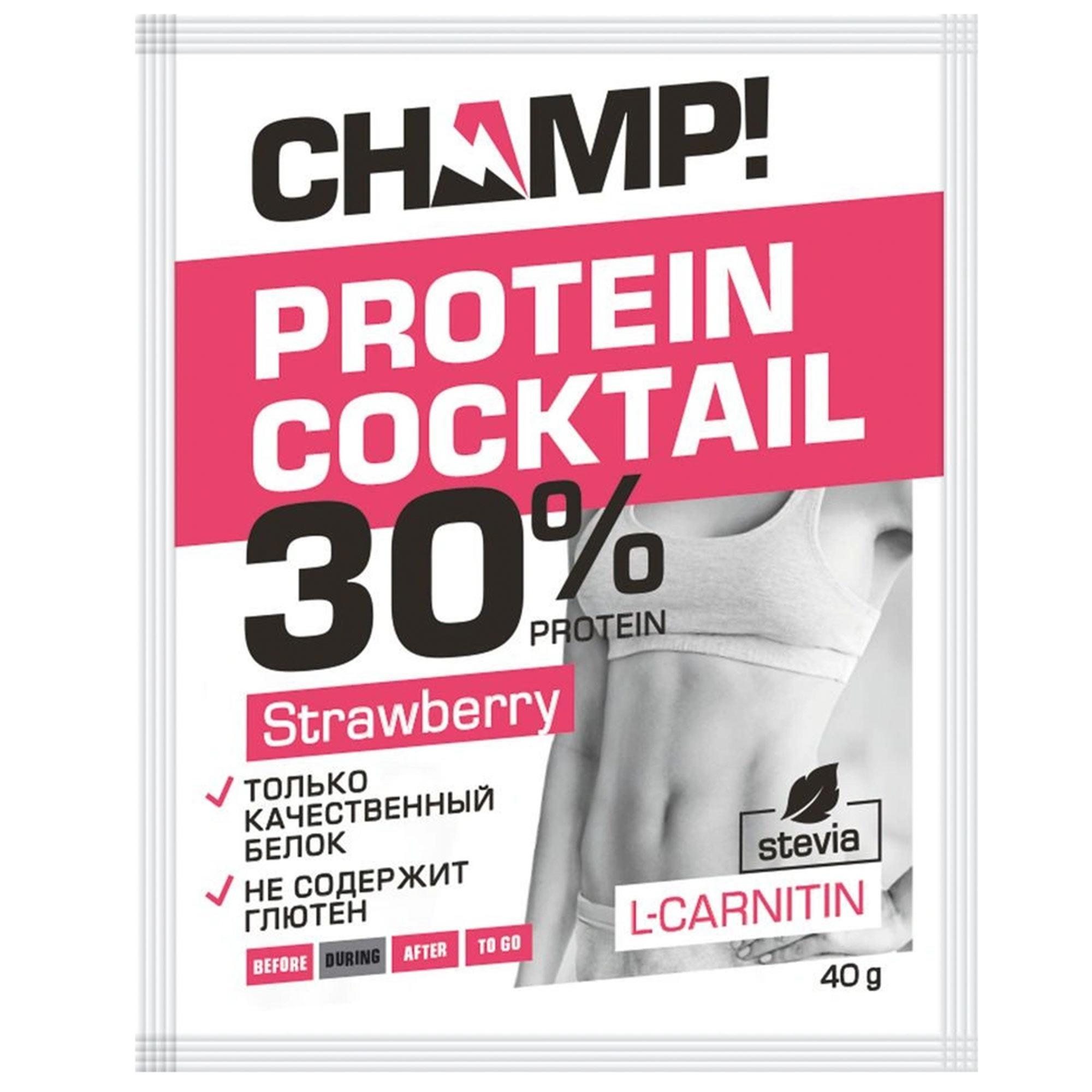 Коктейль протеиновый Champ Клубничный 40 г недорого