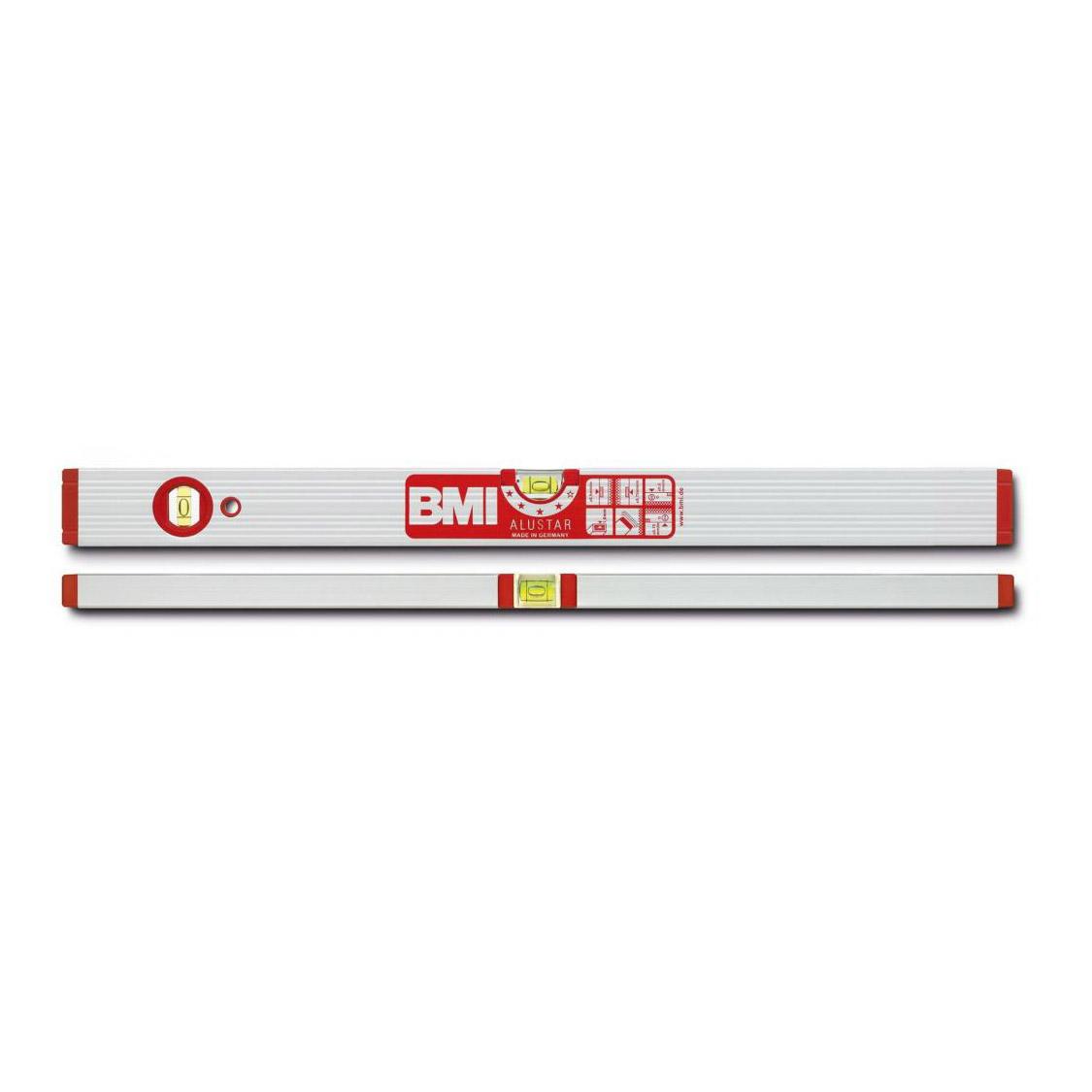 Уровень магнитный противоударный ALUSTAR 800 мм BMI 691080M уровень строительный bmi противоударный 2 глазка alustar 600 мм 691060