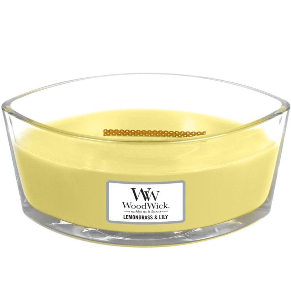 Купить Аромасвеча WoodWick Лемонграсс и лилия 9 см, свеча ароматическая, соевый воск, эфирные масла, стекло, дерево