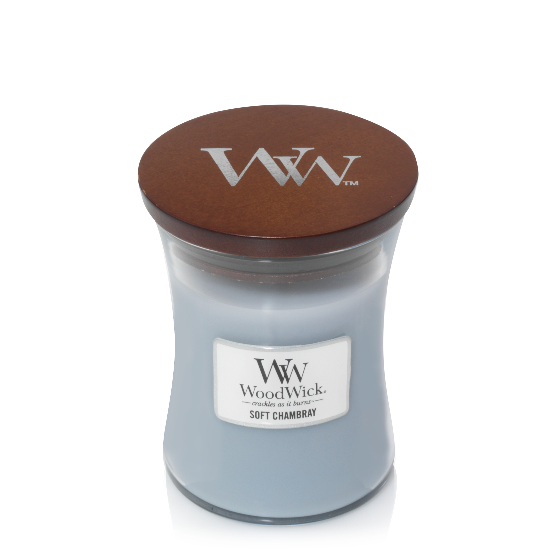 Аромасвеча WoodWick Мягкая шамбре 11 см аромасвеча woodwick песок и морское дерево 11 см