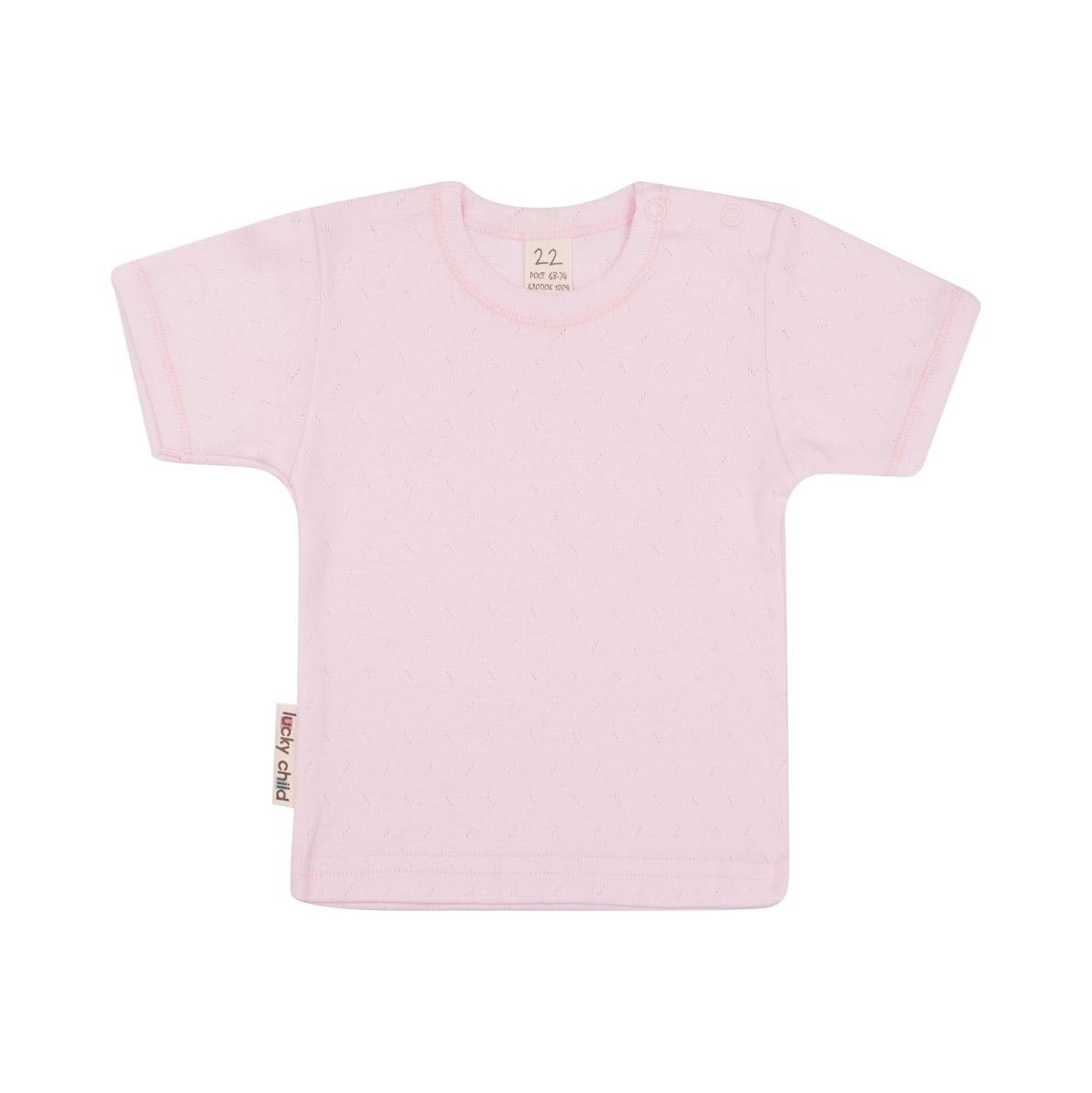 Купить Футболка Lucky Child Ажур розовая 92-98, Розовый, Рибана трансферная, Для девочек, Весна-Лето,