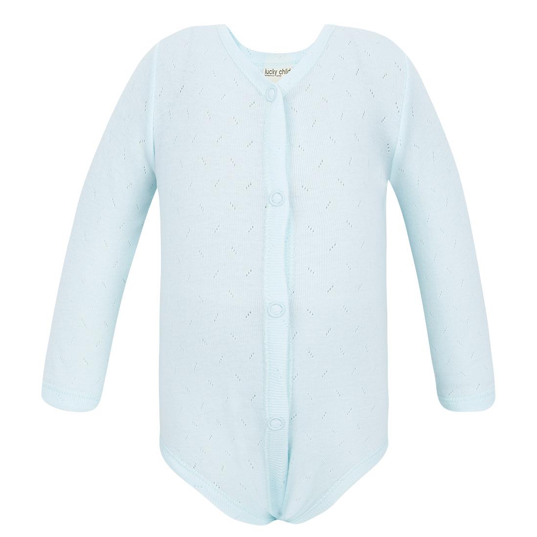 Фото - Боди Lucky Child Ажур голубой 74-80 футболка lucky child ажур белая 74 80