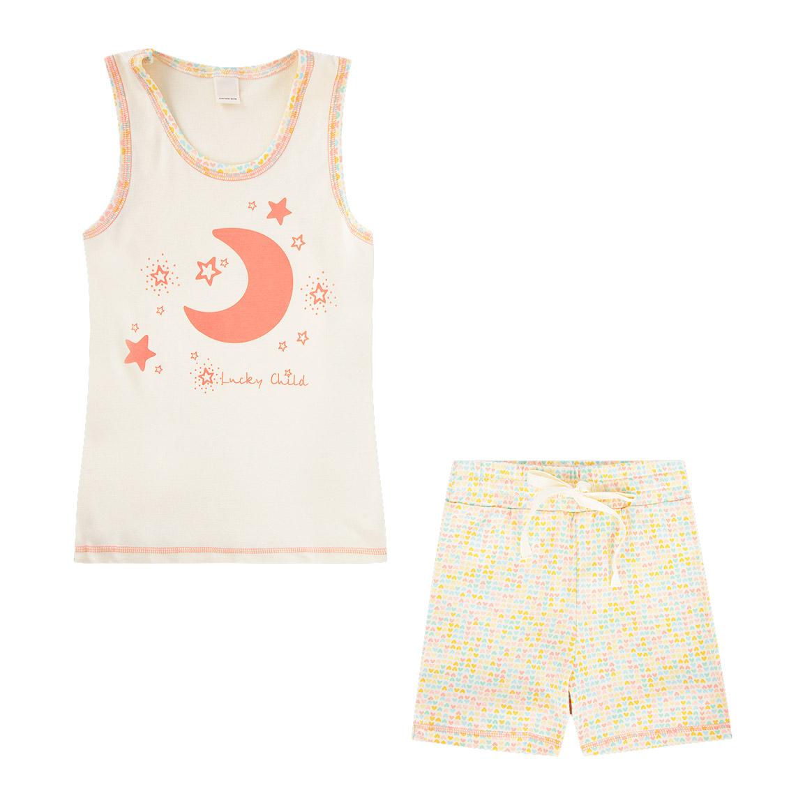 Купить Пижама Lucky Child для девочки 122-128, Бежевый, Интерлок, Для девочек, Весна-Лето,
