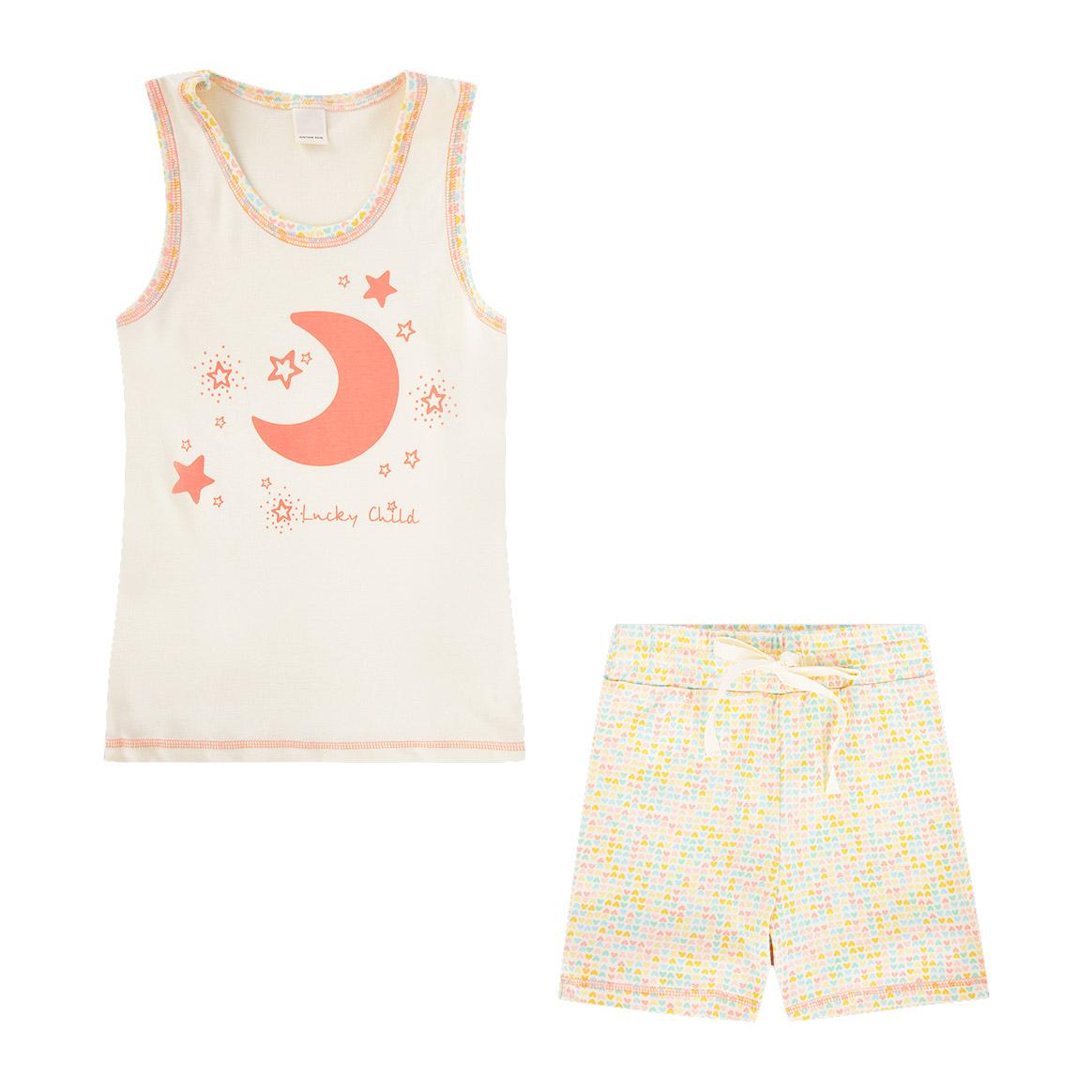 Купить Пижама Lucky Child для девочки 128-134, Бежевый, Интерлок, Для девочек, Весна-Лето,