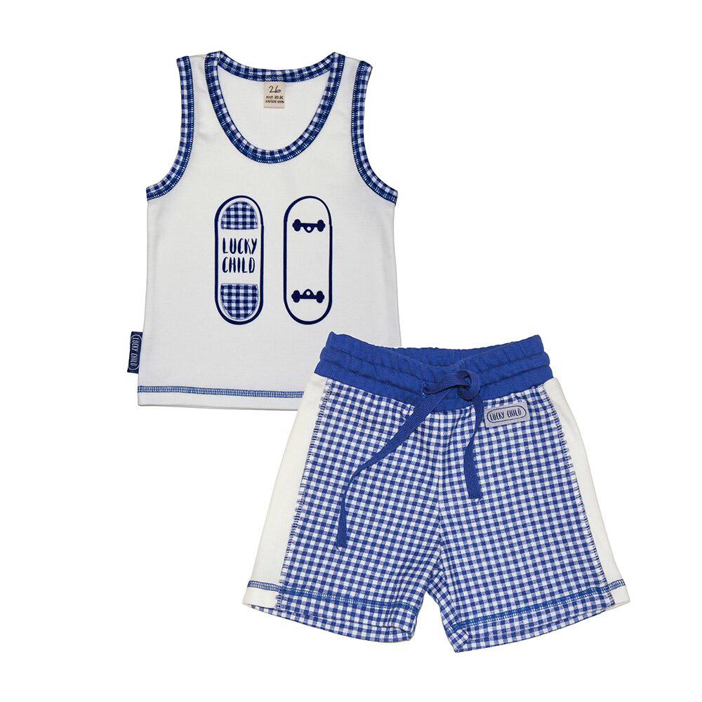 Купить Пижама Lucky Child для мальчика 128-134, Синий, Интерлок, Для мальчиков, Весна-Лето,