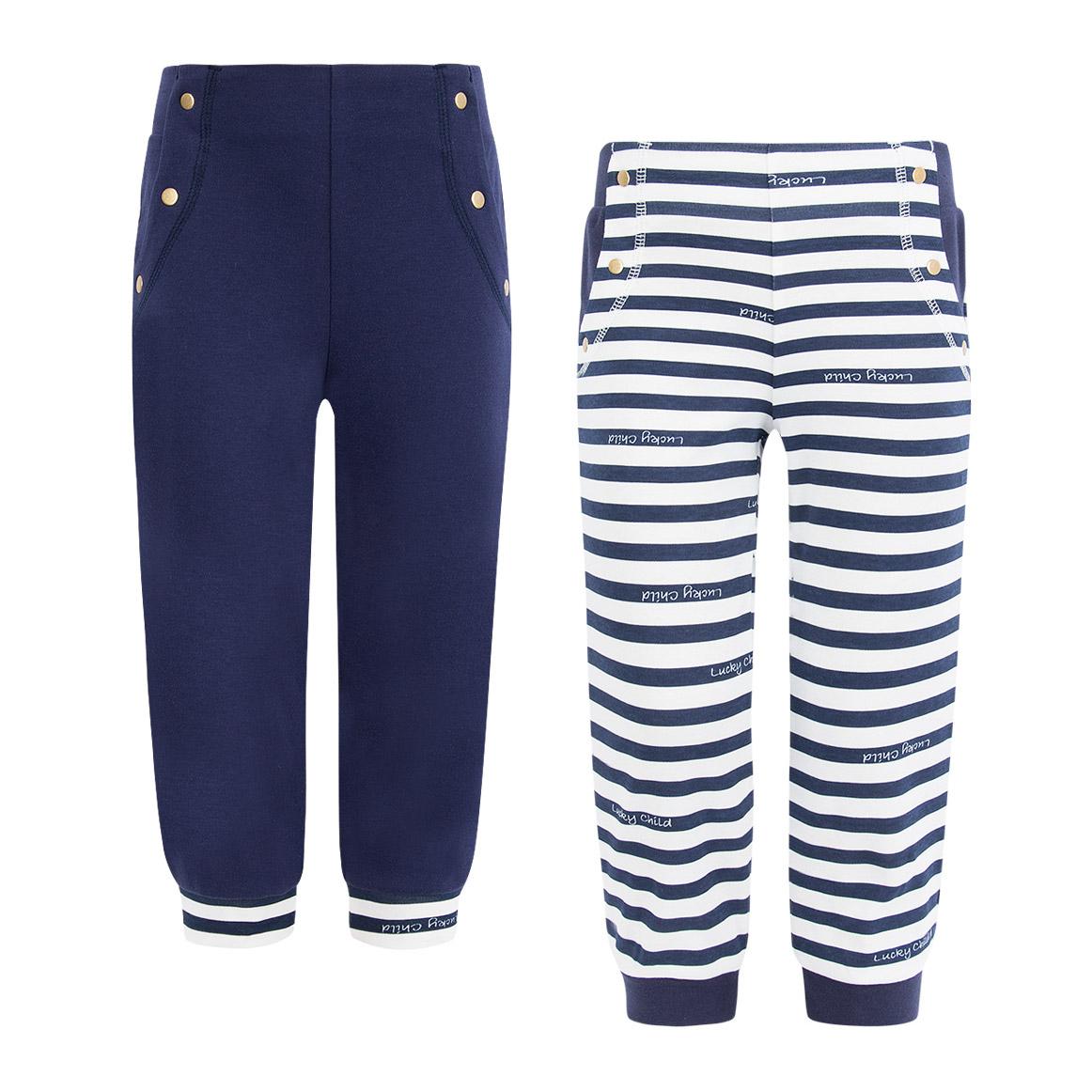 Купить Комплект брюк Lucky Child Лазурный берег 2 шт 110-116, Синий, Белый, Интерлок, Для девочек, Весна-Лето,