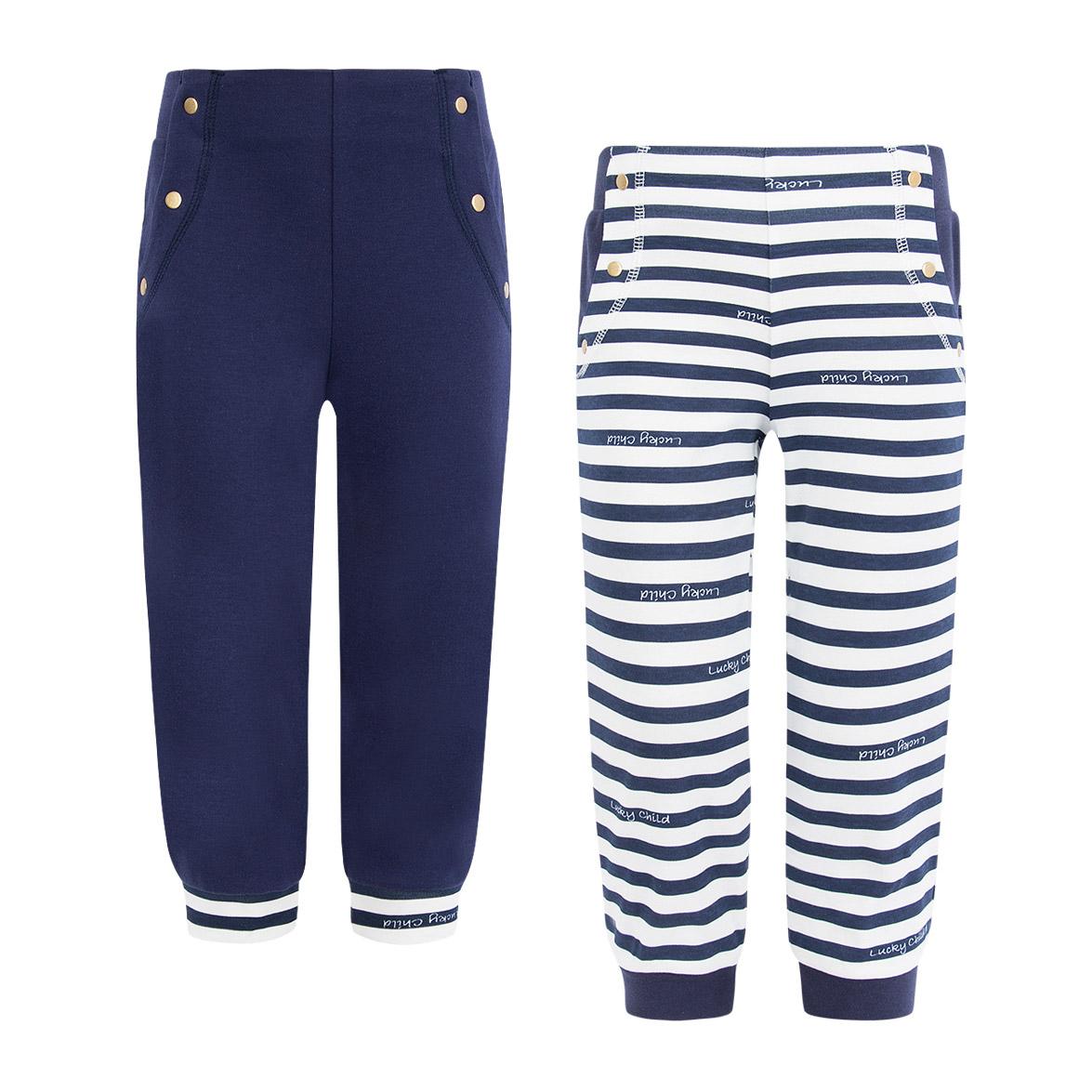Купить Комплект брюк Lucky Child Лазурный берег 2 шт 116-122, Синий, Белый, Интерлок, Для девочек, Весна-Лето,