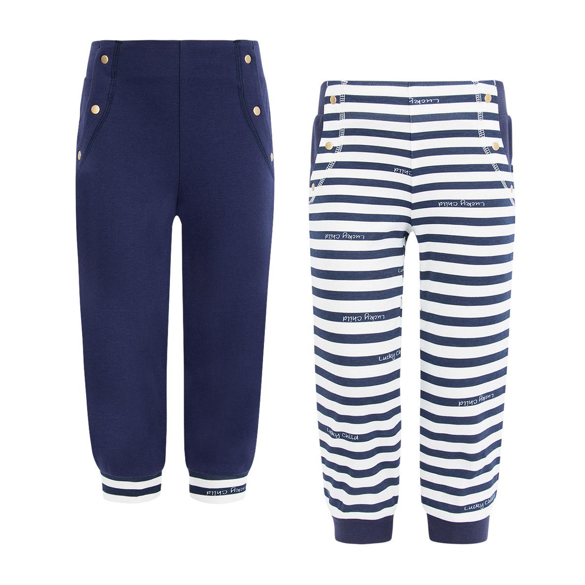 Купить Комплект брюк Lucky Child Лазурный берег 2 шт 128-134, Синий, Белый, Интерлок, Для девочек, Весна-Лето,