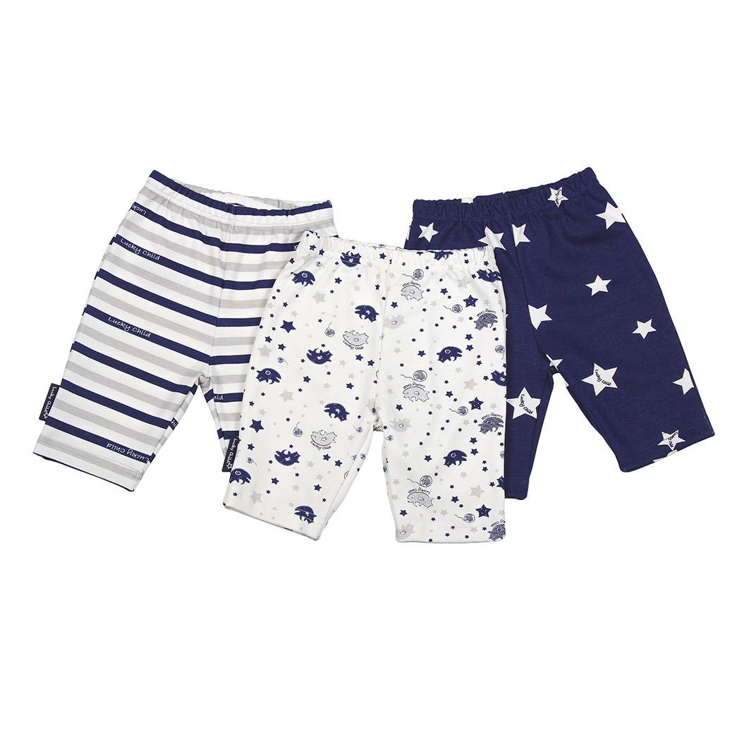Купить Комплект шорты Lucky Child Котики 3 шт 86-92, Синий, Интерлок, Для детей, Весна-Лето,