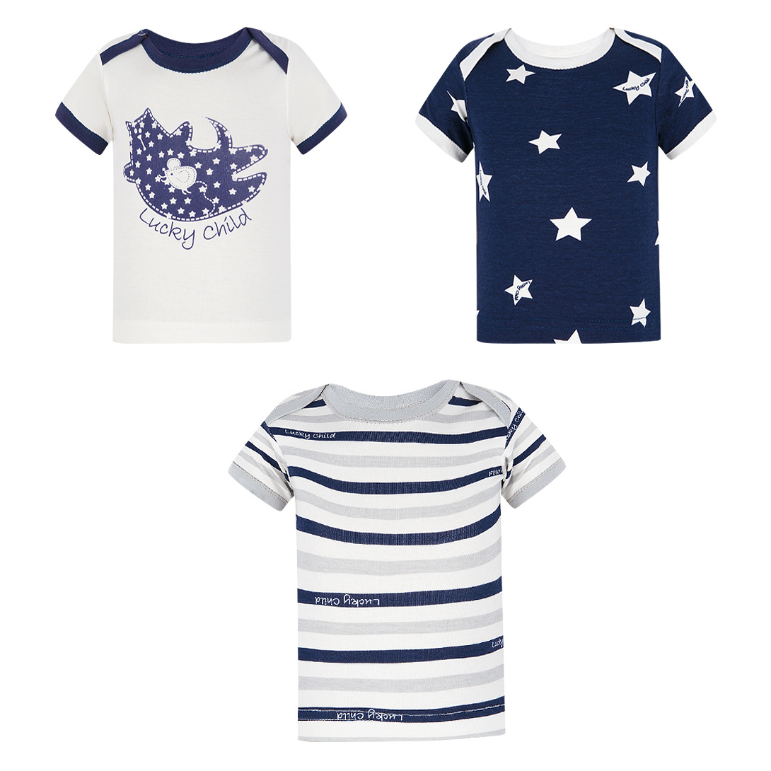 Фото - Комплект футболок Lucky Child Котики 3 шт 68-74 комплект брюк lucky child котики 3 шт 74 80