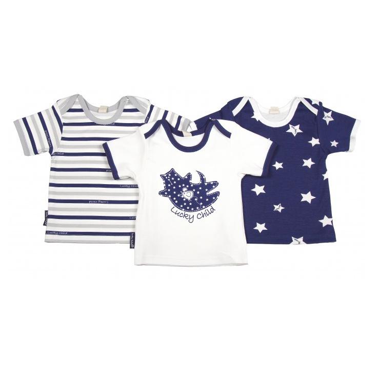 Купить Комплект футболок Lucky Child Котики 3 шт 86-92, Белый, Синий, Интерлок, Для детей, Весна-Лето,